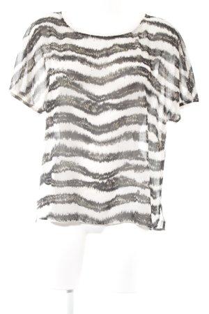 s.Oliver Transparenz-Bluse schwarz-creme Streifenmuster Casual-Look