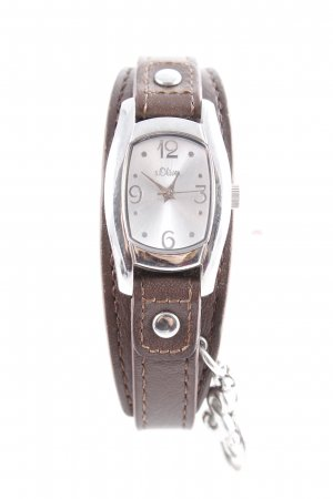s.Oliver Horloge met lederen riempje zilver-bruin casual uitstraling