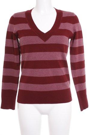 s.Oliver V-Ausschnitt-Pullover bordeauxrot-rosa Ringelmuster Casual-Look