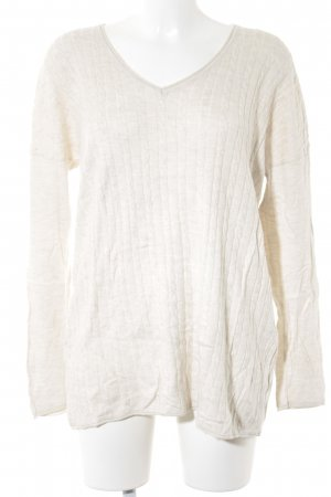 s.Oliver V-Ausschnitt-Pullover hellbeige Zopfmuster Casual-Look