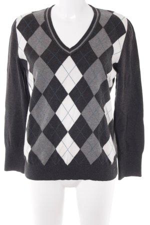 s.Oliver V-Ausschnitt-Pullover Karomuster klassischer Stil
