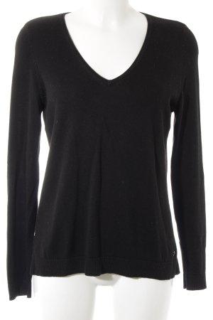s.Oliver V-Ausschnitt-Pullover schwarz Casual-Look