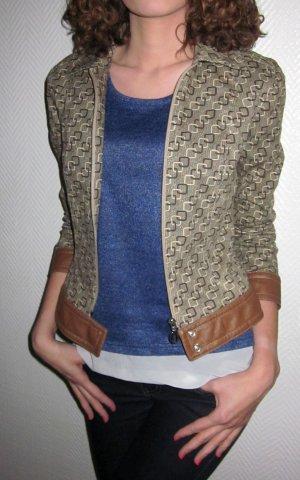 S.OLIVER Vintage Blazer Jacke Leder Applikation Kragen Reißverschluss beige braun camel XS 34