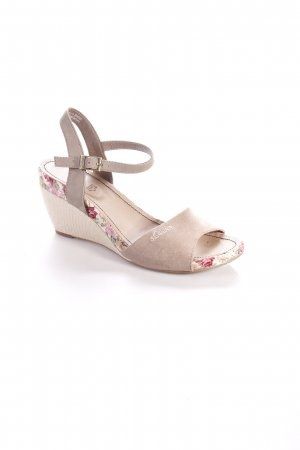 s.Oliver Wedge Sandals camel-cream floral pattern beach look