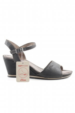 s.Oliver Wedge Sandals dark brown-light brown casual look