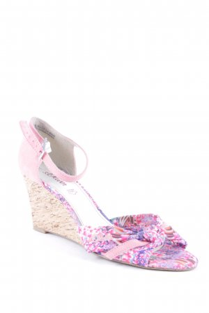 s.Oliver Wedge Sandals floral pattern beach look
