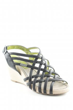 s.Oliver Wedge Sandals black-beige casual look