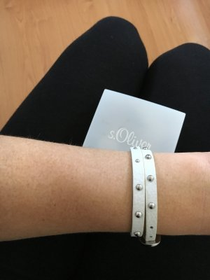 s.Oliver Lederen armband wit-zilver