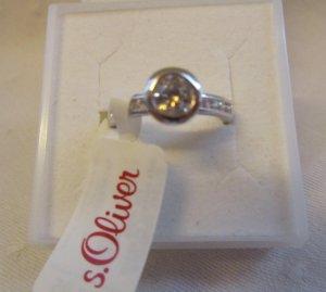 s.Oliver: Zirkonia-Ring, 925er Silber, GR. 54 - NEU