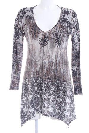 S-twelve V-Ausschnitt-Shirt florales Muster Glitzer-Optik