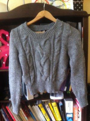 S/XS Zopfmuster Winter-Pullover mit Wolle + Alpaca