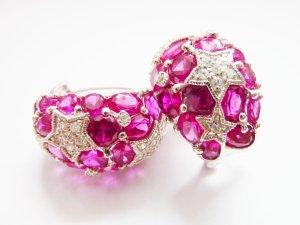 S925 Sterling silber Ohrring silber pink Sterne Starlight Swarovski
