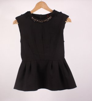 SA_7 Zara Top schwarz mit Schmucksteinen Gr. 36 S