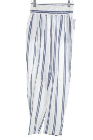 Sabo Skirt Stoffhose weiß-kornblumenblau Streifenmuster Street-Fashion-Look