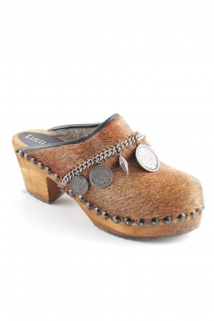 Zuecos coñac-marrón arena estilo extravagante