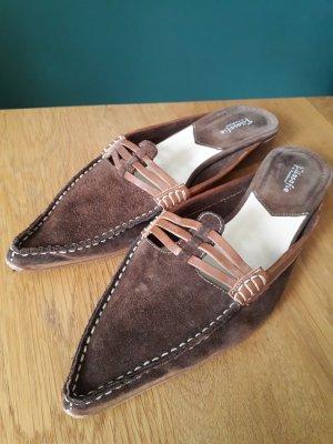 Sabots light brown-brown leather