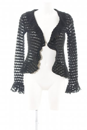 Sabra Coarse Knitted Jacket black cable stitch casual look