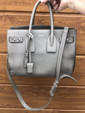 Saint Laurent Sac Baril gris cuir