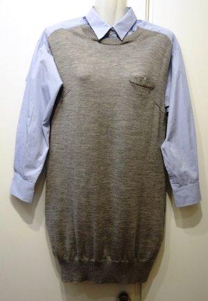 Sacai Robe chemise gris-bleu azur