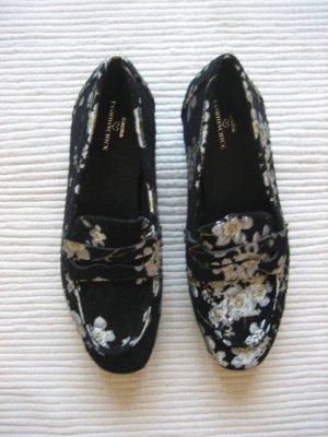 sacha schuhe schwarz bluemen floral neu gr. 38 dandys gothic