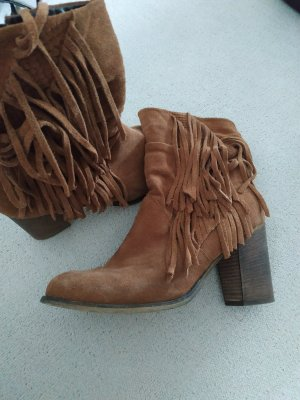 Sacha Zipper Booties brown leather
