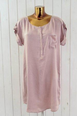 SACK'S Kleid Hemdblusenkleid Seidenkleid Seide Altrosa Kurzarm U-Ausschnitt 1/36