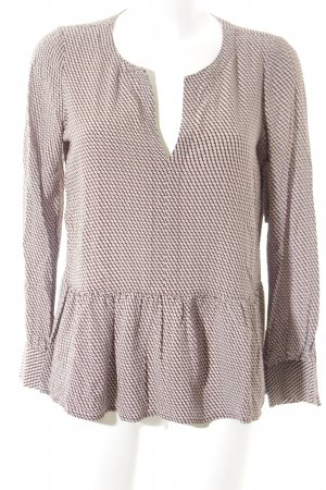 Sack's Langarm-Bluse wollweiß-braun grafisches Muster Business-Look