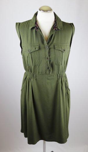 Safari Hendblusenkleid Kleid Knopfleiste Ckh Clockhouse Größe 42 L Khaki Grün Minikleid