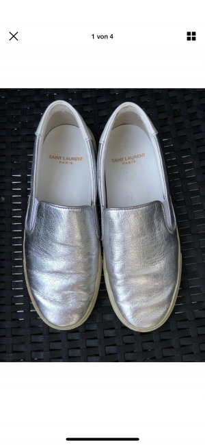 Saint Laurent Moccasins silver-colored leather