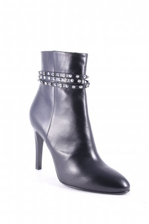 Saint Laurent Ankle Boots schwarz-silberfarben Punk-Look