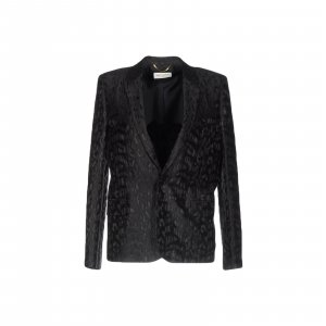 Saint Laurent Black Leopard Print Wool Blazer