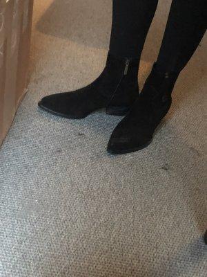 Saint Laurent Boots schwarz Wildleder 39