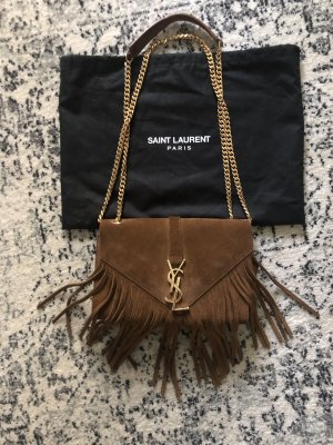 Saint Laurent College Monogram Fringe Bag Tasche Suede Cognac Leder