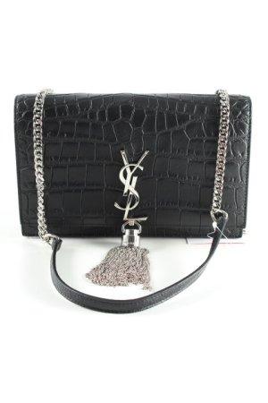 Saint Laurent Handtasche schwarz-silberfarben Casual-Look