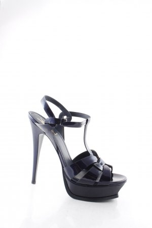 Saint Laurent Sandaletto con tacco alto blu scuro similpelle