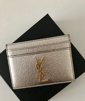 Saint Laurent Kartenetui Silber Metallic