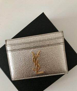 Saint Laurent Kartenetui Silber Metallic