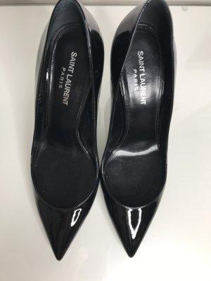 SAINT LAURENT Olymp Pumps Mid Heel Black/Silver