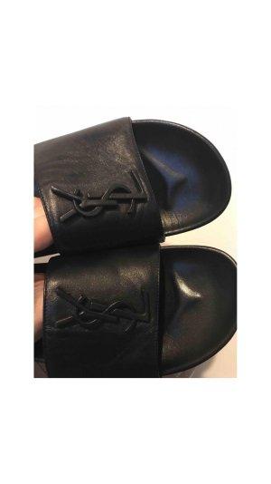 Saint Laurent Mule à talon noir cuir