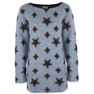 SAINT LAURENT Pullover Blau Schwarz Wolle Mohair Sterne Sweater Blue Star Top XS