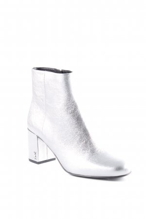 "Saint Laurent Zipper Booties ""Babies 70 Pin Boots Patent Leather Silver"""