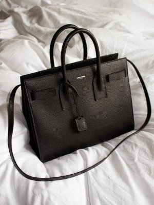 Saint Laurent Sac de Jour Bag Handtasche schwarz black grained leather silver Silber Small