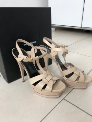 Yves Saint Laurent Plateauzool sandalen licht beige-room Leer