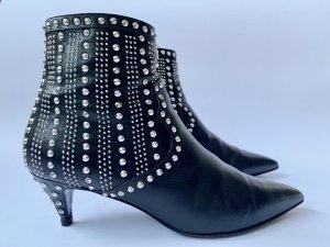 Saint Laurent schwarze Stiefeletten mit silberfarbigen Nieten