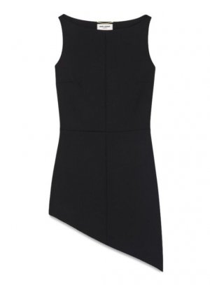 SAINT LAURENT SLEEVELESS DRESS WITH ANGLED ASYMMETRICAL HEM