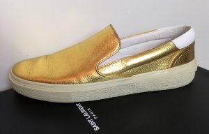* SAINT LAURENT * SLIPPER SNEAKER LOAFER LEDER gold weiß mit KARTON Gr 38, 5