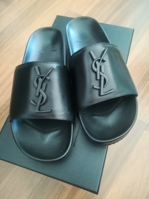 Saint Laurent Pantoffels zwart