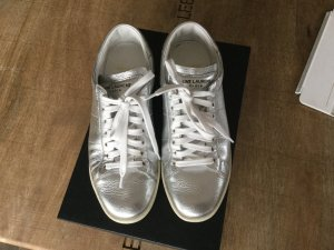Saint Laurent Sneaker in Silber Leder