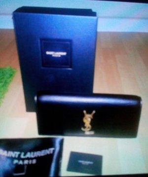 Yves Saint Laurent Bolso de mano negro-color oro Cuero