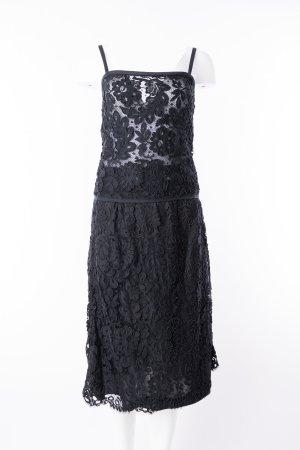 SAINT LAURENT - Vierteiliges Kleid Schwarz mit Häkelspitze Gr. 38/40